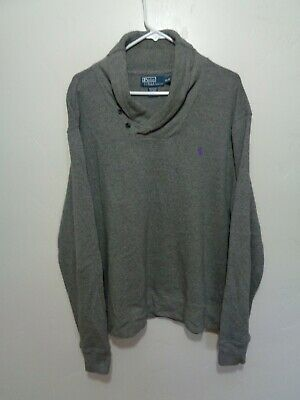 ralph lauren polo pullover sweater gray shawl collar xl extra large