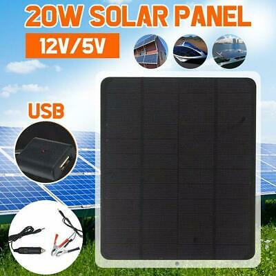 20W 12V Solar Panel Trickle Battery Charger Power Supply Car Boat Yacht