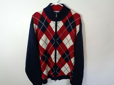 tommy hilfiger argyle sweater full zip xl extra large red white blue vintage