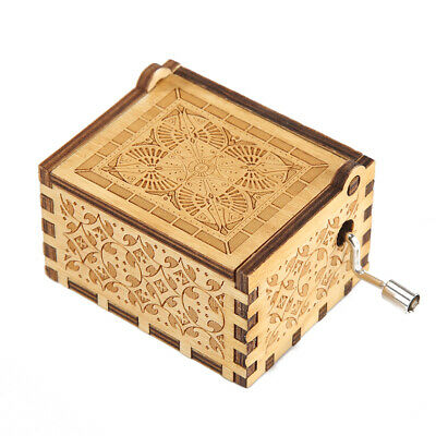 Carved Lion King Music Box Hand Crank Wooden Musical Christmas Gift