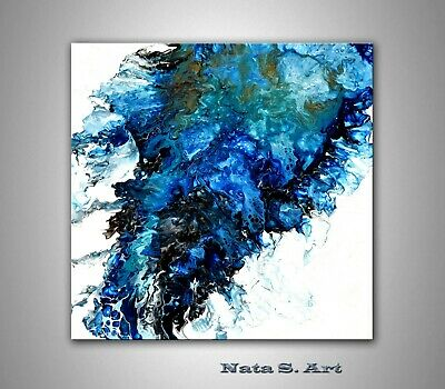 Abstract Acrylic Painting, Modern Art, Blue White Original Pour Painting by Nata