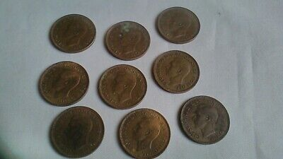 1937-1952 Farthing Coin George VI - 9 Coins in Total