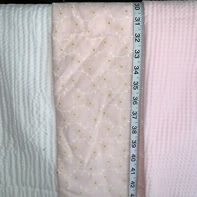 Vtg 80s Pink Flocked White Dotted Swiss Doll Clothes Quilt Sew Fabric 36x43 PB8
