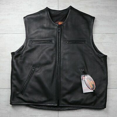 Men's HOT LEATHERS Handcrafted in the USA Motorcycle Vest 100% Genuine Steerhide