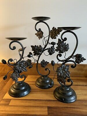 Set Of 3 Beautiful Autumn Candle Holders With Acorns And Leaves In Metal