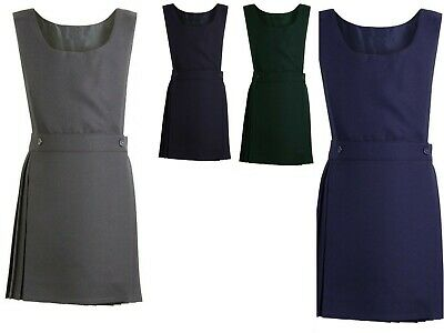 ND Kids Girls School Uniform Pleated Bib Pinafore Dress 5 Colours Ages 2-16