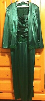 Mother of Bride Dress Formal Gown Jacket Sleeves Beaded Lace Dark Green 14, 12