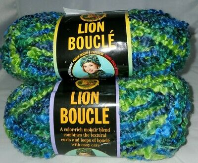 DISCONTINUED LION BRAND BOUCLE YARN COLOR #201 SPRINKLES 3 SKEINS//BALLS OF