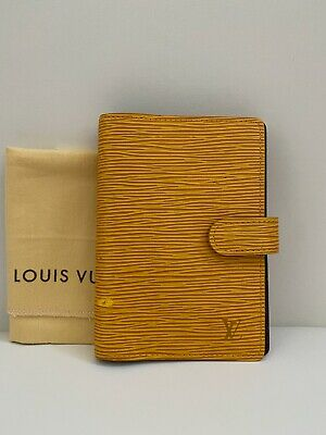 Authentic Louis Vuitton Epi Agenda PM Day Planner Cover Yellow with dust bag