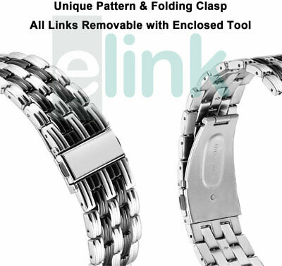 Various 22mm Replacement Stainless Steel Metal Wrist Band Bracelet Strap