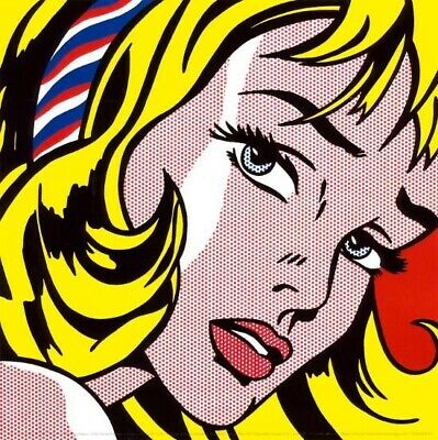 """POP ART COMIC CHOICES of CANVAS 22W/""""x22H/"""" DROWNING GIRL by ROY LICHTENSTEIN"""