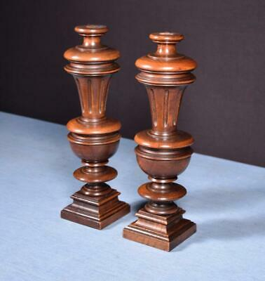 "*13"" Pair of French Antique Solid Walnut Posts/Pillars/Columns/Balusters Salvage"