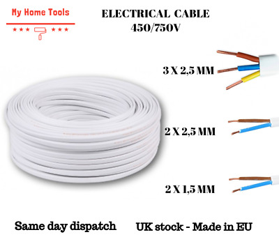 1m High Quality Flexible Two Core Twin Live /& Neutral Mains Cable Wire WHITE