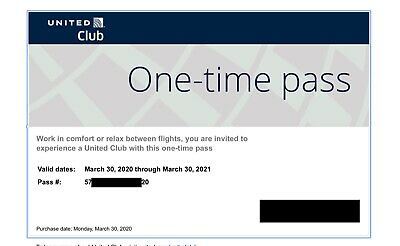 2 Passes for United Club One Time Pass EXP 3/30/2021 NOT CHASE E-pass Available