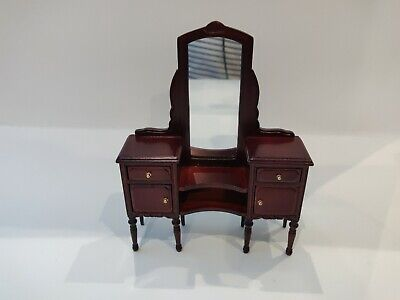 Dollhouse Miniature Vintage Bespaq Dressing Table with Mirror /&Stool 1:12 scale