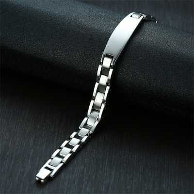 BRAND NEW MENS BEN SHERMAN ID BRACELET STAINLESS STEEL AND CARBON CONTRAST