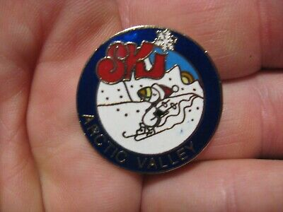 "Vintage Arctic Valley Anchorage Alaska SKI Puffin Skier Bird 1"" Round Lapel Pin"