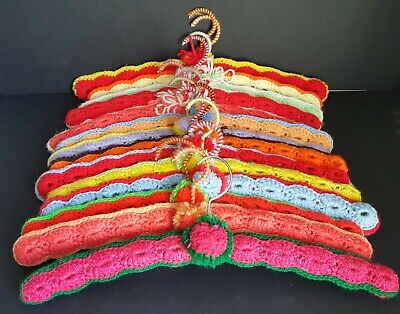 Lot of 14 Assorted Vintage Hand Crocheted Wooden Hangers Asst Colors