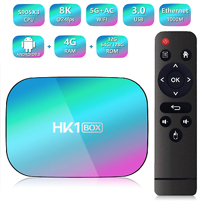 2020 HK1 Box Android 9 Smart TV Box 8K Double WIFI 4GB RAM 128GB ROM Décodeur TV