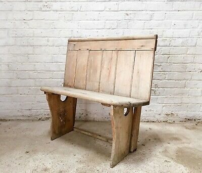 Victorian Two Seater Pitch Pine Pew/Seat/Bench ANTIQUE