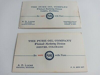 2 Vintage The Pure Oil Company Business Cards Wholesale Marketing Division