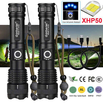 2x 900000LM T6 LED Super Bright Flashlight 5Modes Zoomable Outdoor Camping Torch