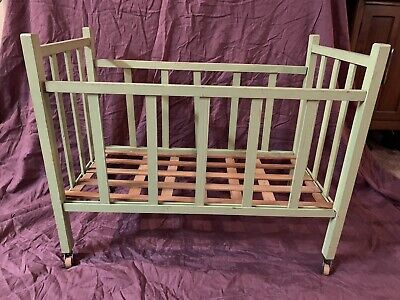 Old Dutch green wooden hinelopen painted crib