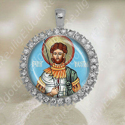 Holy Martyr Nestor of Thessalonica Medal Pendant Orthodox Religious Jewelry