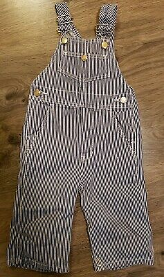 Montgomery Ward Boys Overalls Sz 18 24 Month Blue Railroad Stripe Conductor Snap