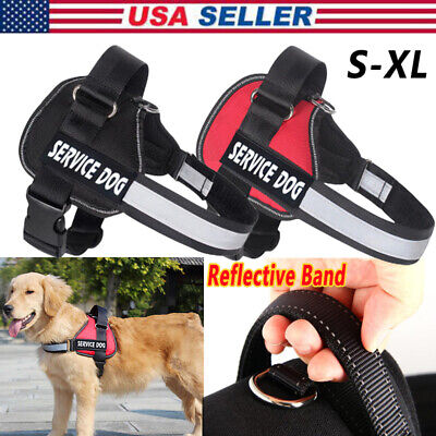 Service Dog Vest Adjustable Harness with 2 Removable Patches Reflective Band