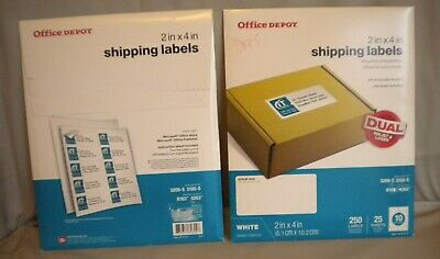 "BRAND NEW - OFFICE DEPOT 2"" x 4"" WHITE SHIPPING LABELS 500 - SHIPS FREE"