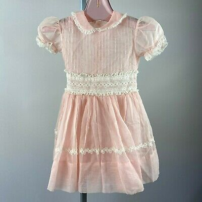 Vtg 50s Pink Sheer Lace Trim Girls Party Dress Nylon Fancy Size 6-8 Floral