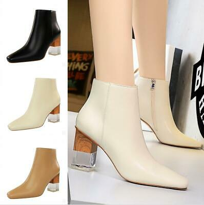 Women Square Toe Side Zipper Blocks Heels Ankle Boots Chunky Roma Shoes Casual