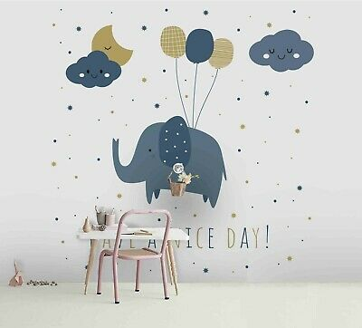 3D Cartoon Elephant Self-adhesive Removable Wallpaper Feature Wall Mural 132