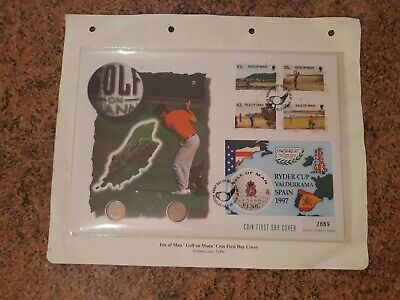 1997 Golf Ryder Cup Valderrama Spain, 2 golf coins First day cover isle of Man