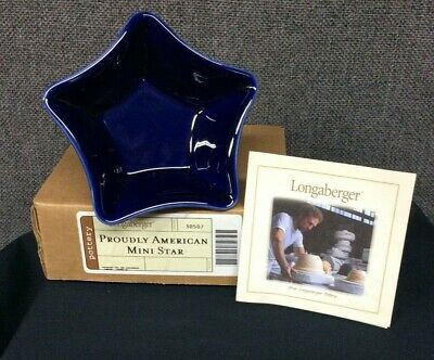 Longaberger Proudly American Mini Star Pottery 30507 Cobalt  Blue NEW in BOX!