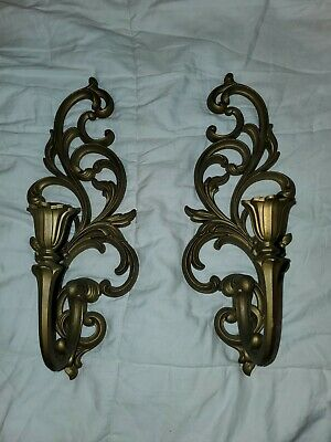Vintage  Syroco Gold Hollywood Regency Wall Sconce Candle Holder 4531 L and R