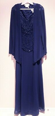 Mother of Bride Dress Formal Gown Long Sleeve Beads A-Line Jacket Navy M, S, 6