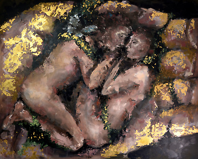 oil, acrilic and gold painting by artist Helen Gross