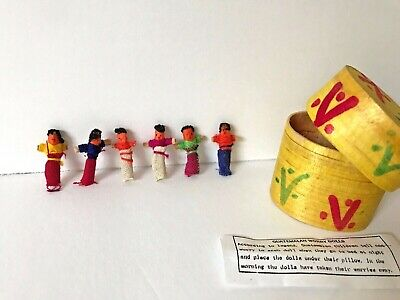 Authentic Handmade Guatemalan Worry Dolls with Basket - 6 Tiny Trouble Dolls