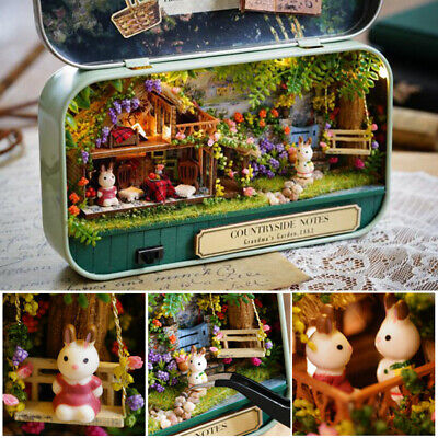 DIY Handcraft Miniature Project Kit Dolls House The Snow Dream Tin Box