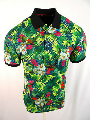Mens Niko Polo Shirt Black Panther Bold Florals Slim Fit Stretch 3 Button