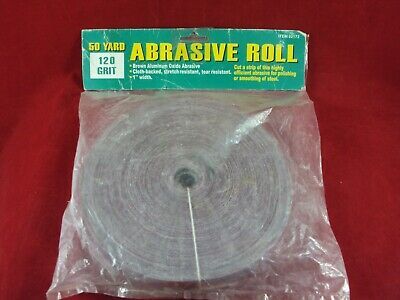 """New 1"""" wide, (50 yard,120 Grit), Abrasive Roll Harbor Freight #02172"""