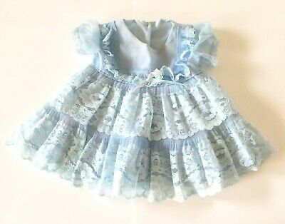 Vtg Little Girl Dress Lace Trim Ruffles Sheer Blue Stains Flaws