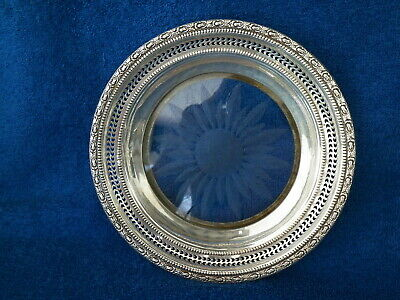 Whiting Talisman Rose 6 1/2'' Sterling Silver & Glass Plate