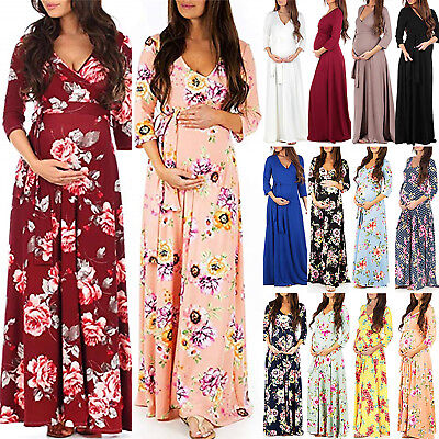 Women Pregnant Floral Printed Maternity Dress Party Casual Dresses Photography