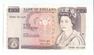 AU/UNC Kentfield 1991 - 1992 issue £10 Banknote Bank of England Ten Pounds