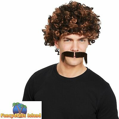 80s Afro Wig Tash 2 Tone Brown Scouser Stag Do Cop 70's Mens Fancy Dress Costume