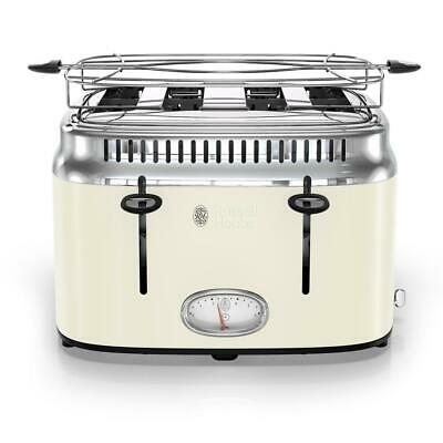 Russell Hobbs Toaster Built-In Timer Retro Style 4-Slice Pause/Interrupt Cream