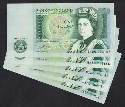 🌟 GB SOMERSET £1 ONE POUND NOTE B341 BANKNOTES - 5x CONSECUTIVE NOTES